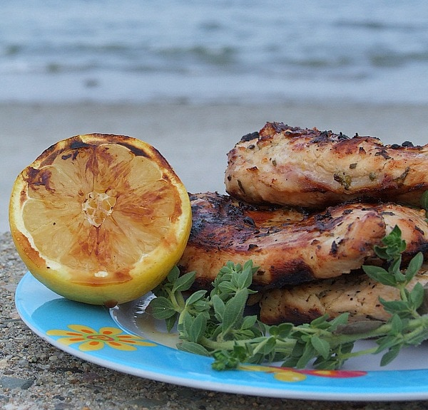 Grilled Chicken with Lemon and Oregano - recipe from RecipeGirl.com
