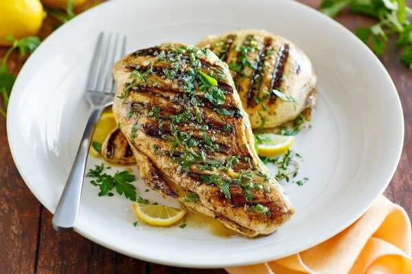 Grilled Lemon- Mustard Chicken recipe from RecipeGirl.com