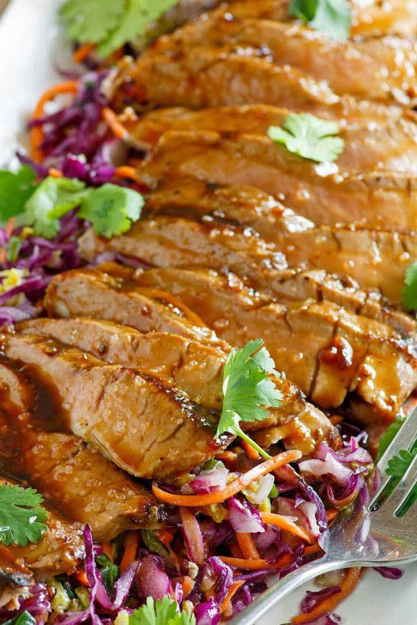 Grilled Pork Tenderloin with Hoisin Sesame Sauce