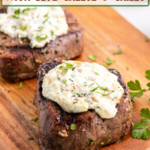 pinterest image for grilled steaks with blue cheese and chiles