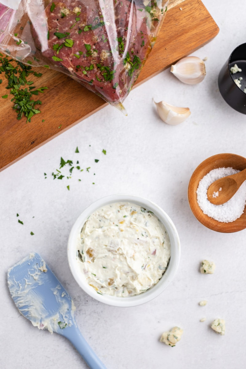 blue cheese sauce in a bowl