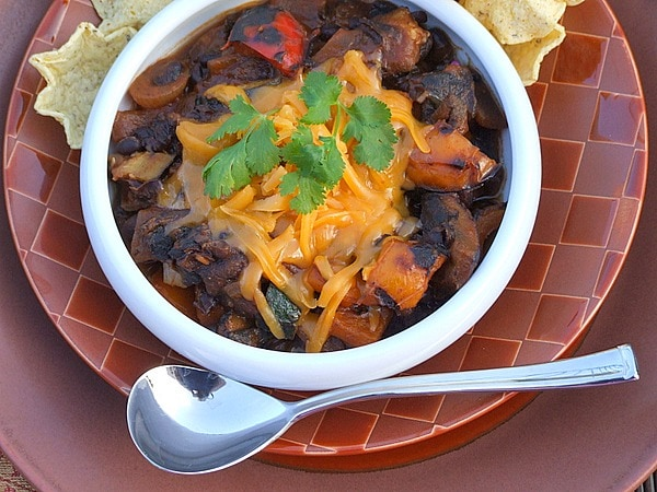 bowl of grilled vegetable chili