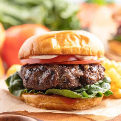 hamburger on a cutting board