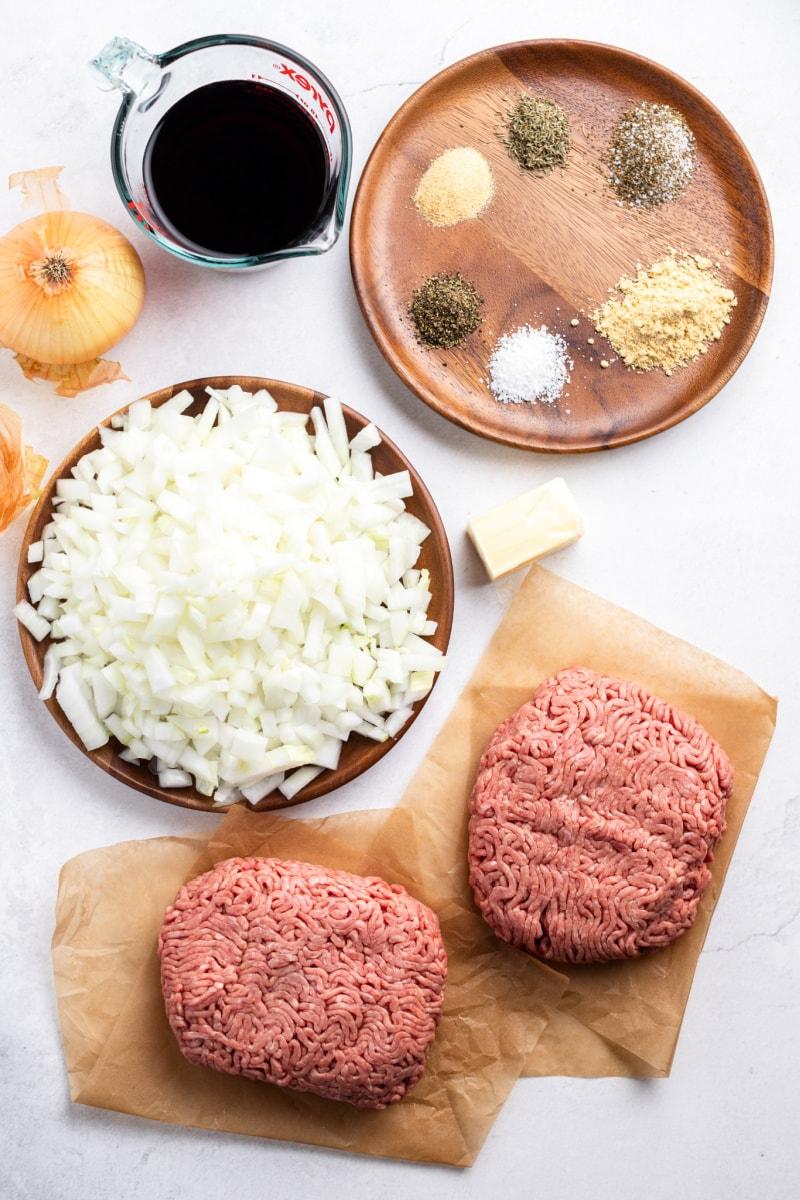 ingredients displayed for making hamburgers