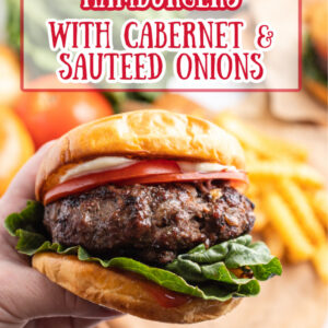 pinterest image for hamburgers with cabernet and sauteed onions