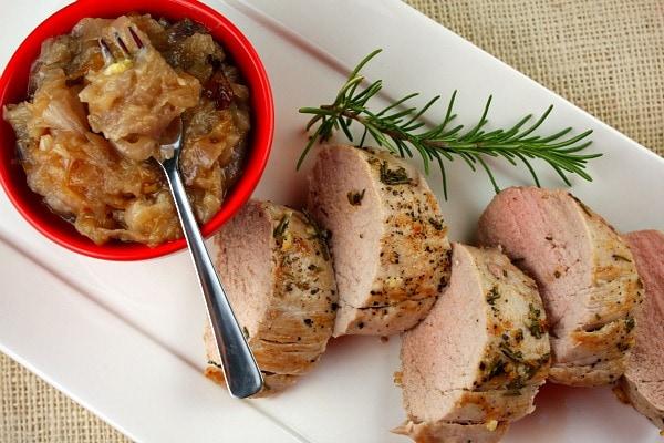 Herb Crusted Pork Tenderloin with Red Onion Jam recipe from RecipeGirl.com