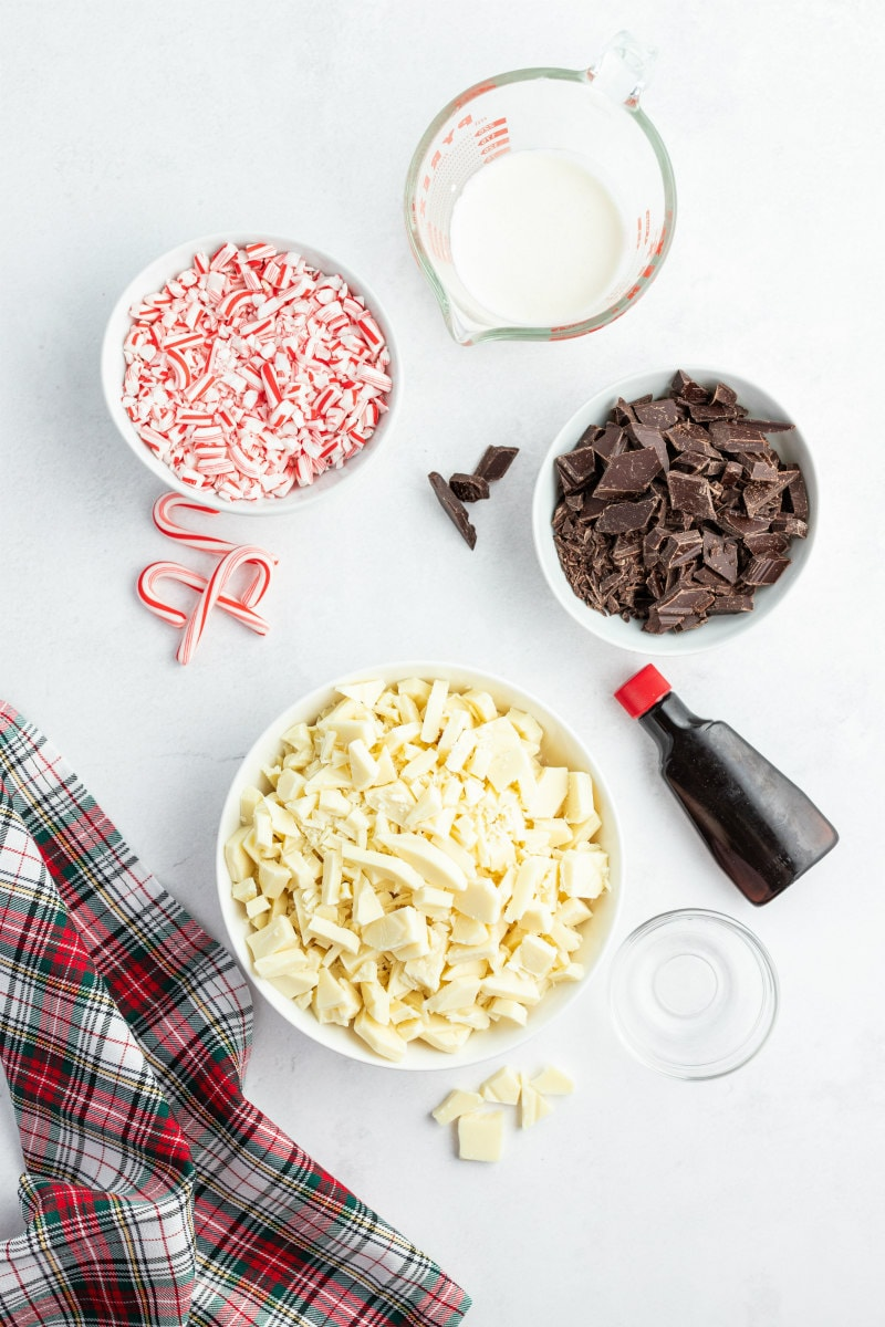 ingredients displayed for layered peppermint crunch bark
