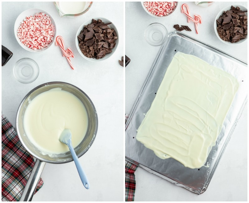 melted white chocolate in a pan and then spread into a dish
