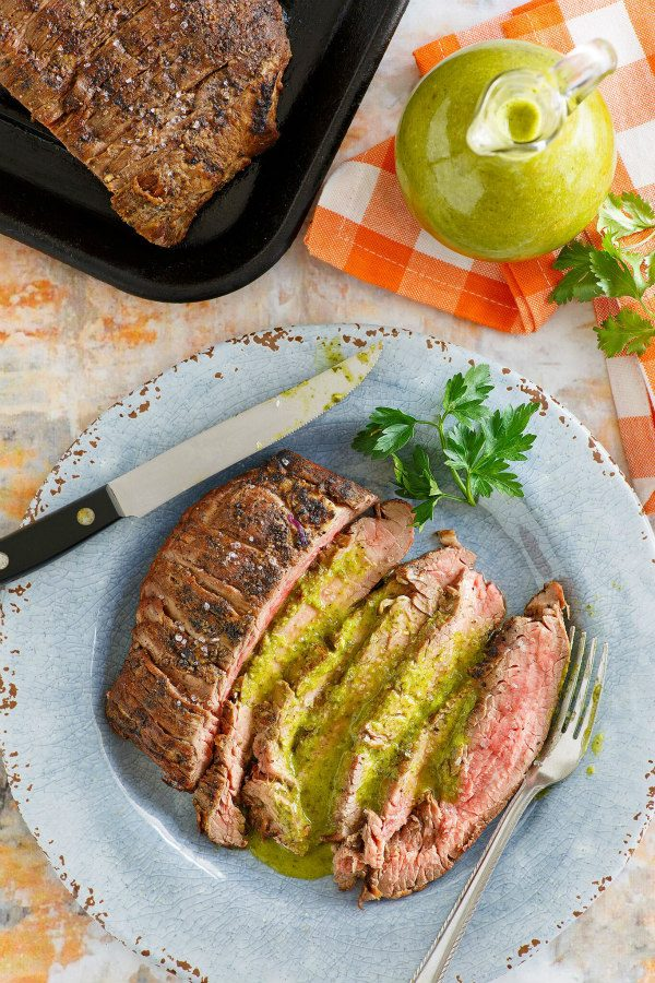 Marinated Flank Steak topped with Cilantro Parsley Vinaigrette