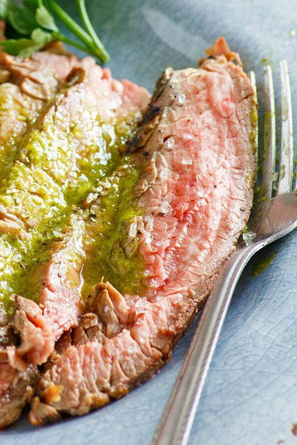 Sliced Marinated Flank Steak with Cilantro Parsley Vinaigrette