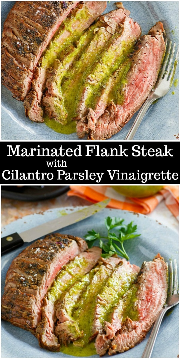 Marinated Flank Steak with Cilantro Parsley Vinaigrette recipe from RecipeGirl.com #flank #steak #cilantro #vinaigrette #grilling #recipe #RecipeGirl