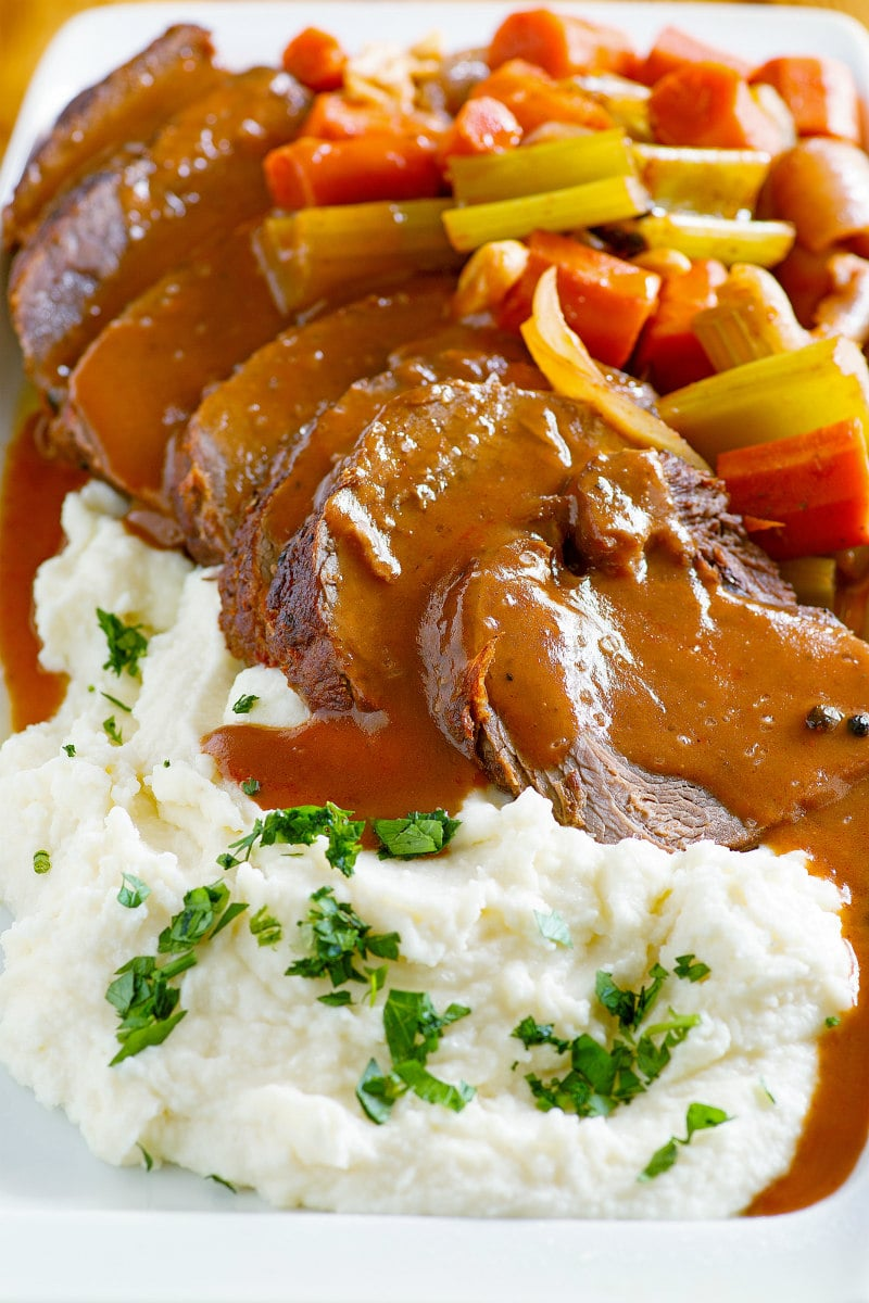 Merlot Pot Roast with sauce, vegetables and horseradish mashed potatoes
