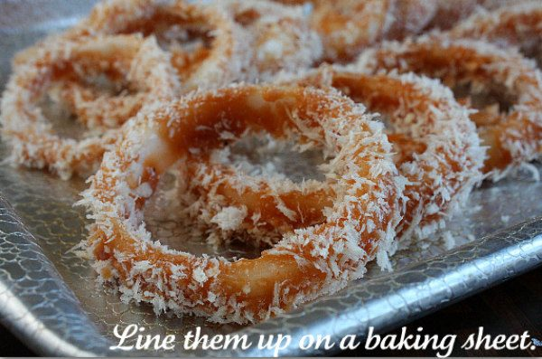 How to Make Baked BBQ Onion Rings - ready for the oven