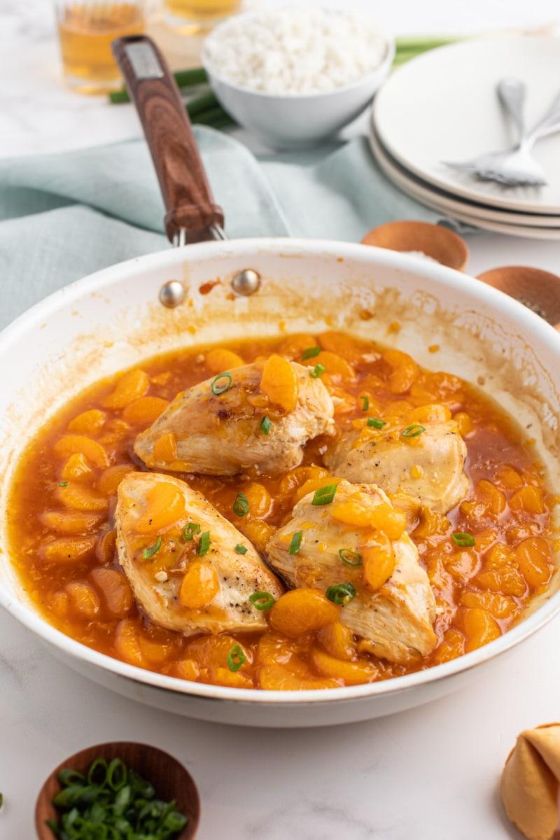 Weight Watchers Asian Orange Chicken in a Frying Pan