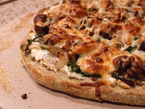 Pizza Bianca with Arugula, Bacon and Mushrooms recipe from RecipeGirl.com