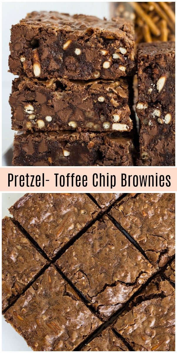 Pretzel Toffee Chip Brownies recipe from RecipeGirl.com #pretzels #pretzel #toffee #toffeechips #brownies #recipe #RecipeGirl