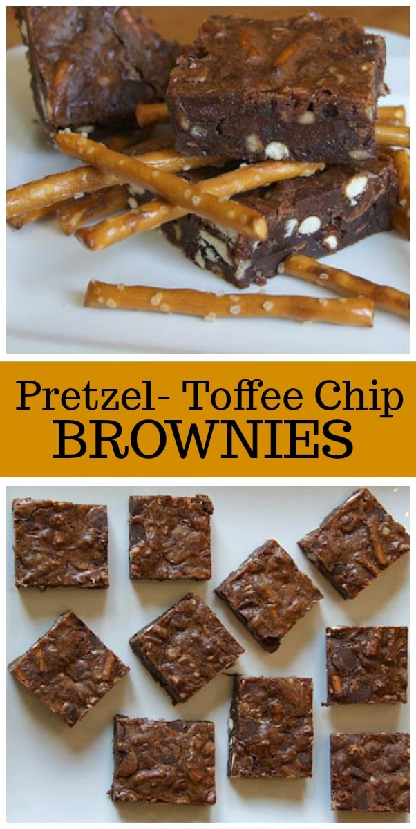 Pretzel Toffee Chip Brownies recipe from RecipeGirl.com #pretzels #toffee #brownies #recipe #RecipeGirl