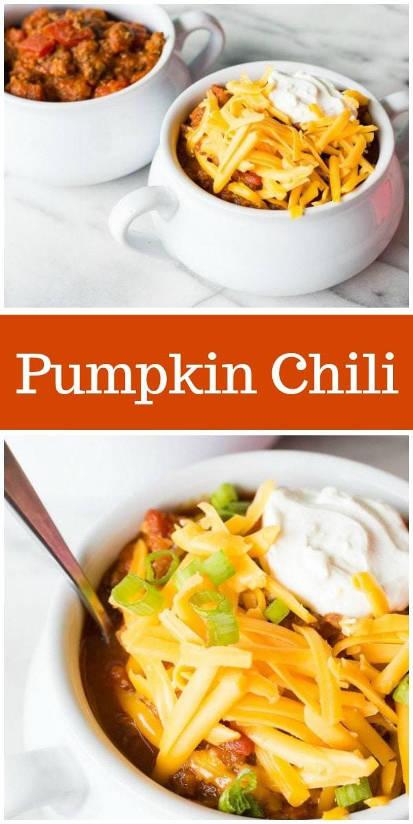 Pumpkin Chili recipe from RecipeGirl.com #pumpkin #fall #chili #recipe #RecipeGirl