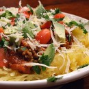 Spaghetti Squash with Spicy Meat Sauce