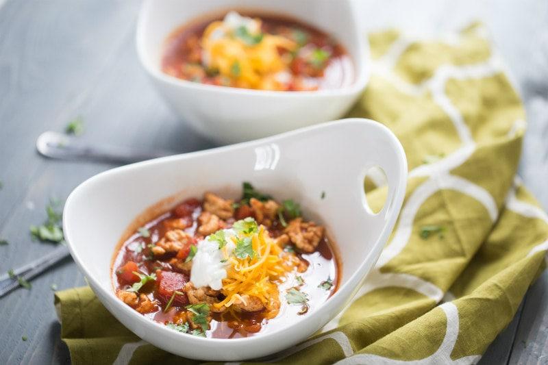 Bowls of Spicy Turkey Chili
