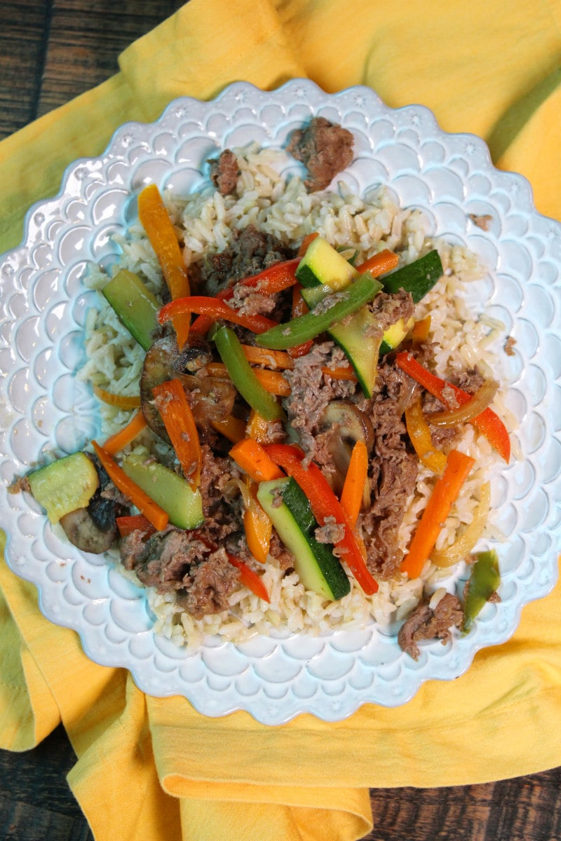 Easy Stir Fried Beef with Vegetables served over rice