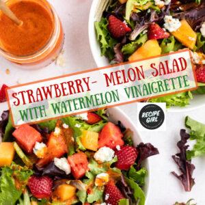 pinterest image for strawberry melon salad