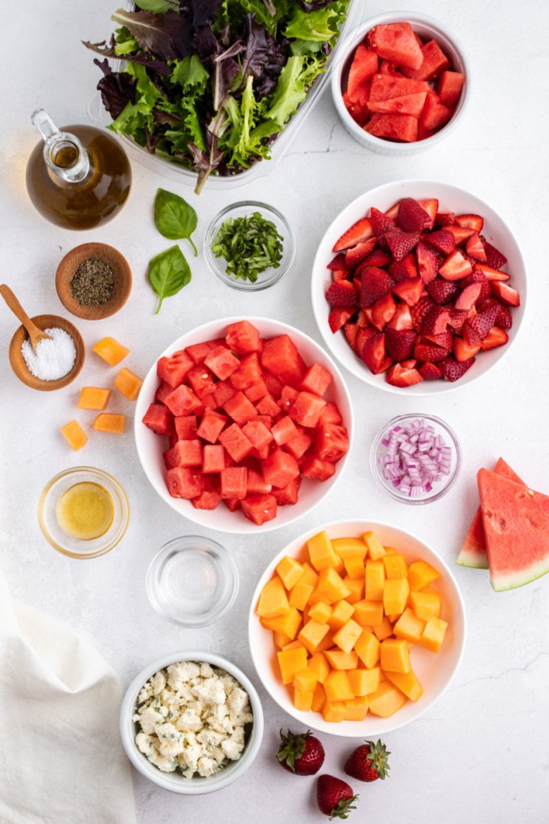 ingredients displayed for strawberry melon salad