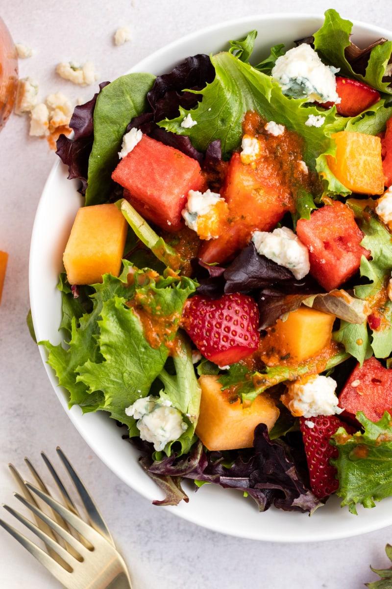 strawberry melon  salad in a bowl