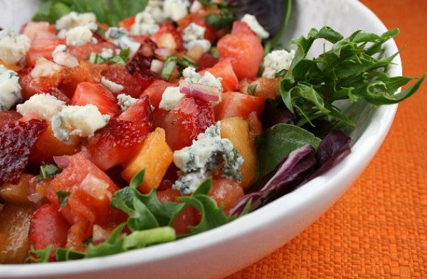 Strawberry Melon Salad with Watermelon Vinaigrette recipe from RecipeGirl.com