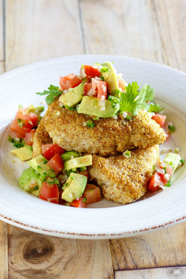 Tequila Almond Chicken topped with Tomato and Avocado