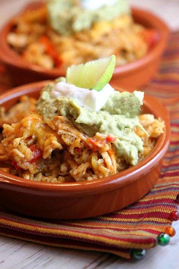 Tex Mex Chicken and Rice Casserole served in a dish