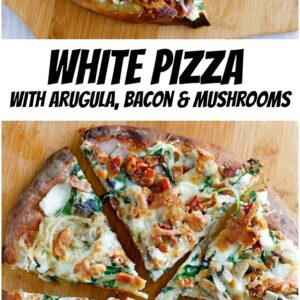 pinterest collage image of white pizza