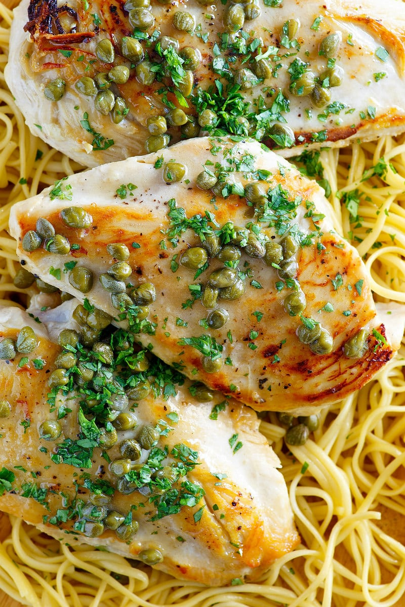 Chicken with Lemon Caper Sauce served over pasta