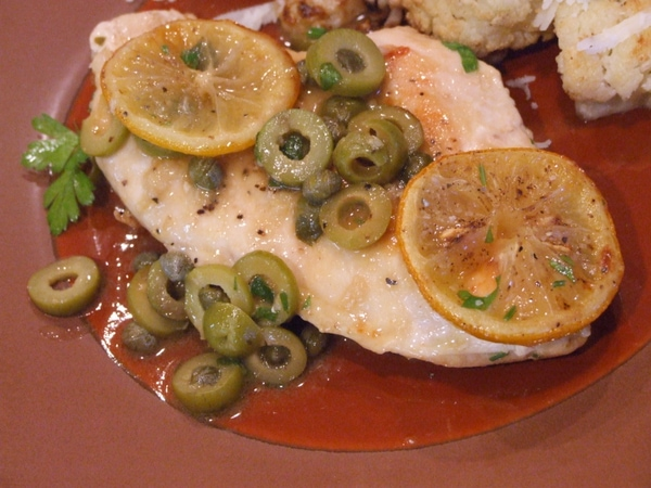 sauteed chicken with roasted lemons