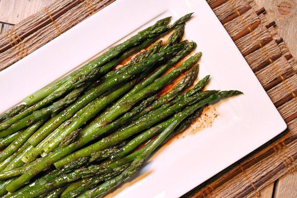 Roasted Asparagus with Balsamic Brown Butter recipe from RecipeGirl.com