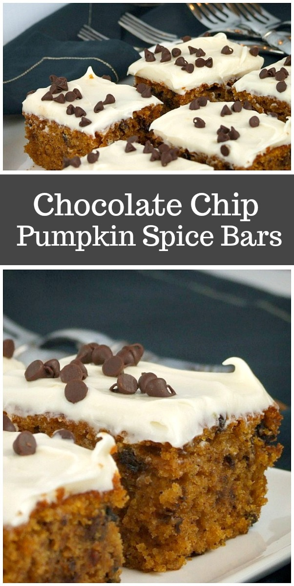 Chocolate Chip Pumpkin Spice Bars recipe from RecipeGirl.com #chocolatechip #pumpkin #bars #recipe #RecipeGirl