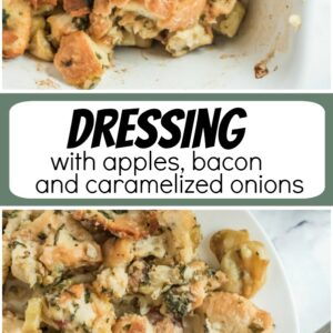 pinterest collage image for dressing with apples, bacon and caramelized onions
