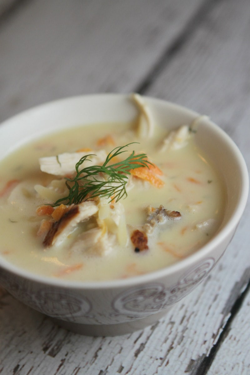 Bowl of Greek Orzo and Chicken Soup