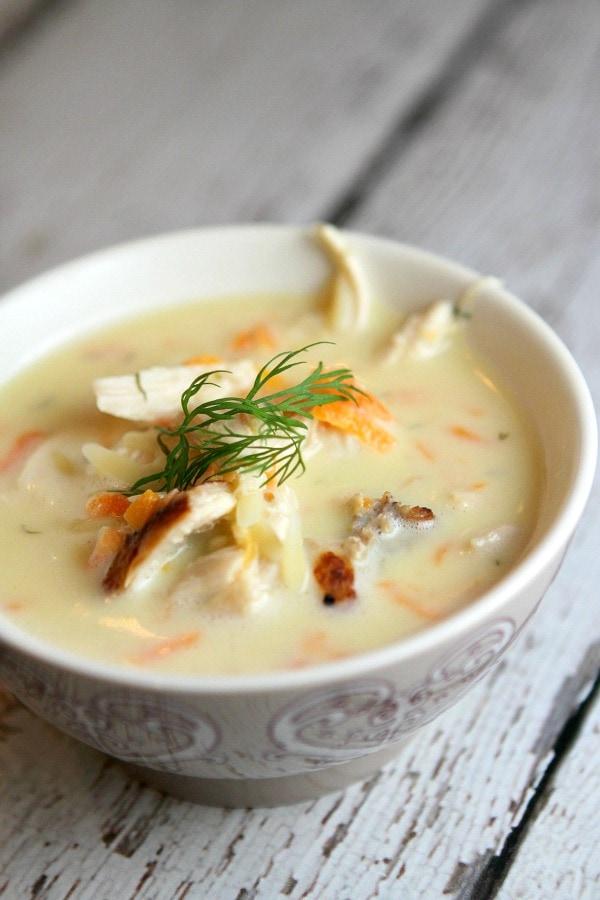 Greek Orzo and Chicken Soup recipe from RecipeGirl.com