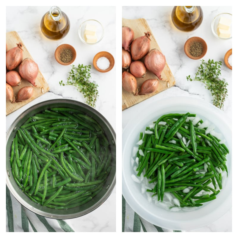 pot of boiling green beans and green beans in ice water