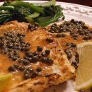 Lemon Caper Calamari Steaks with Broccolini