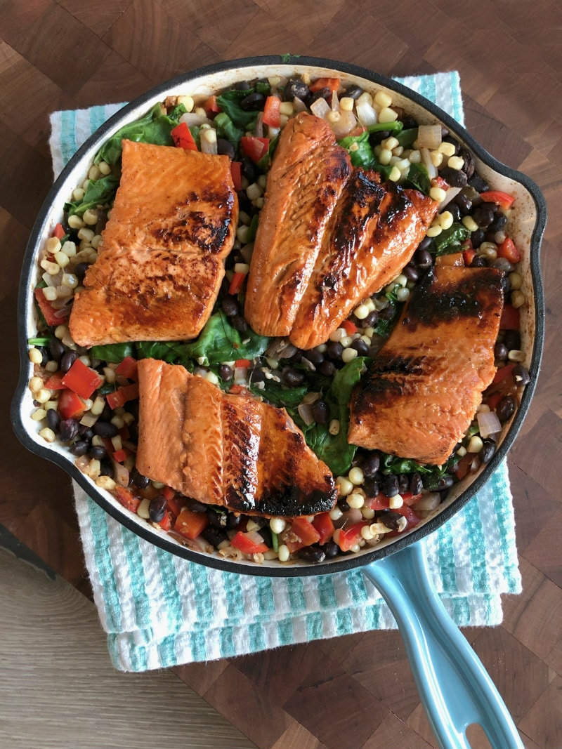 Lime and Honey Glazed Salmon served over Warm Black Bean and Corn Salad