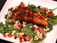 Lime and Honey Glazed Salmon with Warm Black Bean and Corn Salad