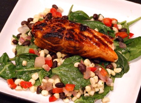 Lime and Honey Glazed Salmon served over Black Bean and Corn Salad