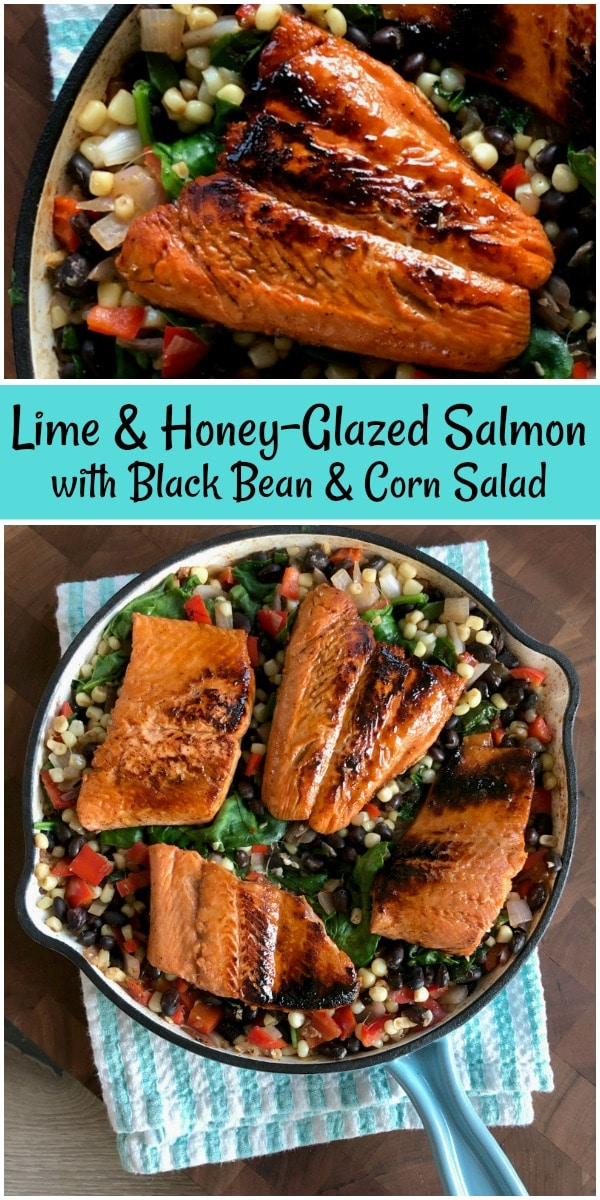 Lime and Honey Glazed Salmon with Black Bean and Corn Salad
