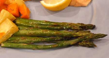Roasted Asparagus with Balsamic Browned Butter recipe from RecipeGirl.com
