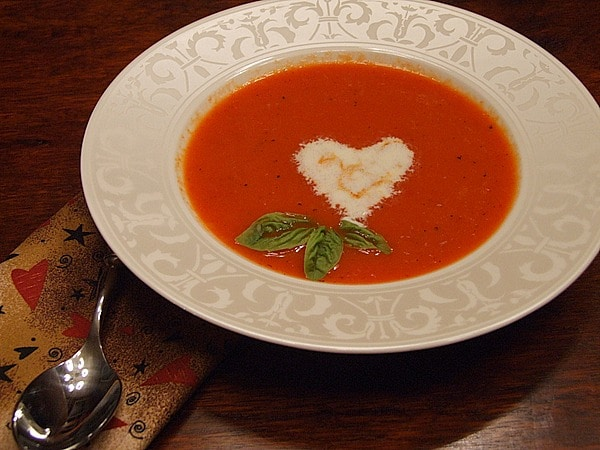 Roasted Red Pepper Soup with Orange Cream recipe from RecipeGirl.com