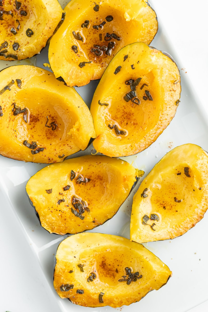 acorn squash wedges on a platter