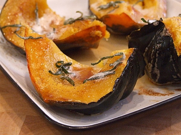 winter squash wedges with brown butter and sage