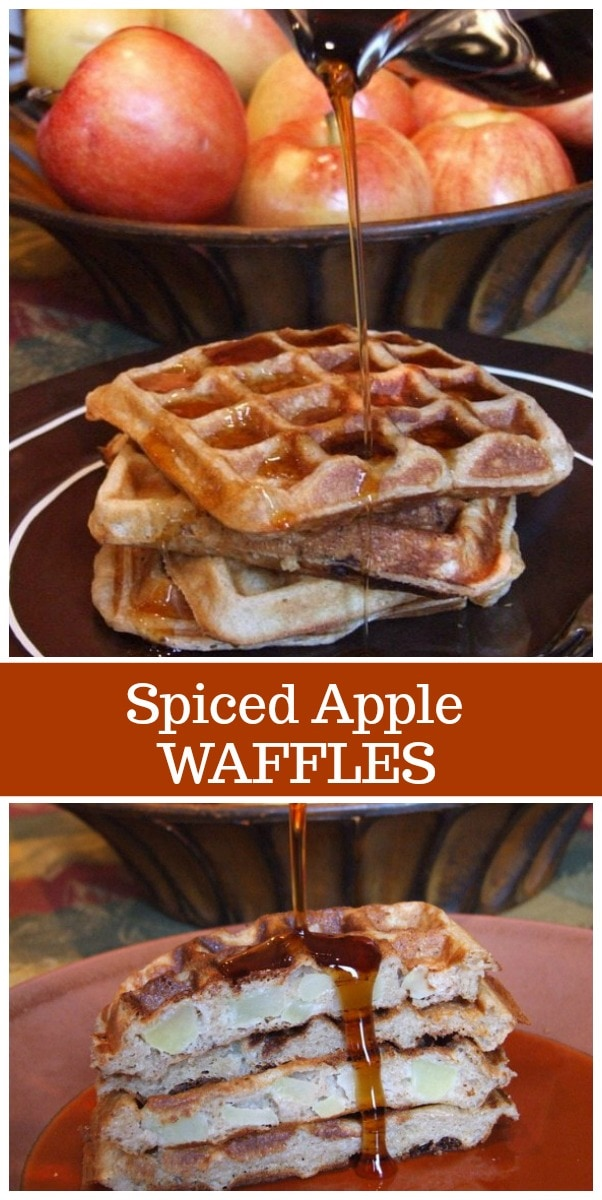 Spiced Apple Waffles recipe from RecipeGirl.com #apple #waffles #fall #breakfast #recipe #RecipeGirl
